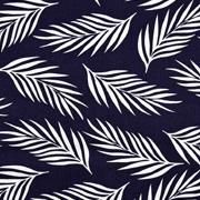 Viskose Stoff Federn Blätter, weiss dunkelblau