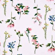 Viskose Stoff Blumenzweige, cremeweiß