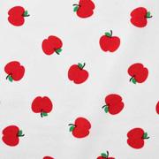 Baumwollstoff kleine Äpfel, rot weiß