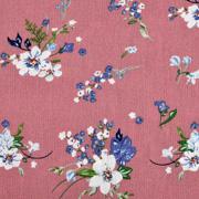 Viskose Crepe Stoff Blusenstoff Blumen Zweige Blätter, blau weiß altrosa