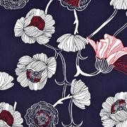 Baumwoll Stretch Stoff Blumen, weinrot weiß dunkelblau