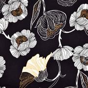 Baumwoll Stretch Stoff Blumen, gelb weiß schwarz