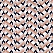 RESTSTÜCK 106 cm Hosenstretch Stoff Bengalin grafisches Muster Zickzack, dunkelblau beige cremeweiß