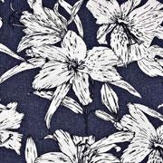 Viskose Leinen Webware Blumen, dunkelblau