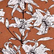 Viskose Leinen Webware Blumen, terracotta braun
