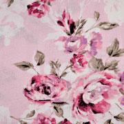 Viskose Leinen Webware Blumen Rosen, rosa