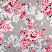 RESTSTÜCK 117 cm Viskose Leinen Webware Blumen Rosen, taupe (graubeige)