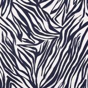 Viskose Leinen Webware Zebra Muster Animal Print, dunkelblau natur