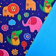 Softshellstoff Elefanten Löwen Krokodile, bunt dunkelblau