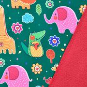 Softshellstoff Elefanten Löwen Krokodile, bunt dunkelgrün