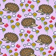 Jerseystoff Igel Blumen Schmetterlinge, rosa