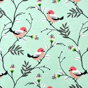 Jerseystoff Vögel Äste Zweige, nude hellgrün
