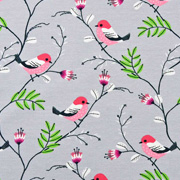Jerseystoff Vögel Äste Blumen, altrosa grau