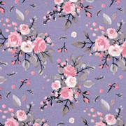 Jerseystoff Blumen Bouquet Blätter, rosa  lilablau