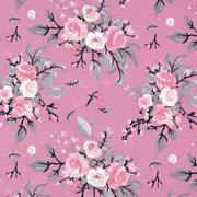 Jerseystoff Blumen Bouquet Blätter, grau altrosa