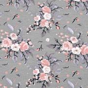 Jerseystoff Blumen Bouquet Blätter, nude mattgrün