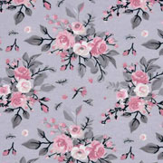 Jerseystoff Blumen Bouquet Blätter, altrosa grau