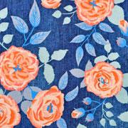 Jerseystoff Blumen Jeans Optik Digitaldruck, aprikot dunkelblau