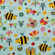 Baumwollstoff Bienen Schmetterlinge Blumen, mint