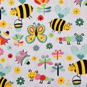 Baumwollstoff Bienen Schmetterlinge Blumen, hellgrau