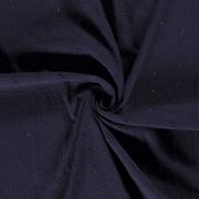 Musselin Stoff Blümchen bestickt, dunkelblau