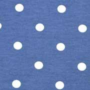 Jerseystoff Punkte 1 cm, weiß jeansblau