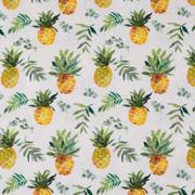 Jerseystoff Ananas Digitaldruck, gelb grün wollweiß