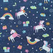 Jerseystoff Einhörner Weihnachtsgeschenke, dunkelblau