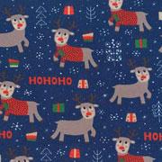 Jerseystoff Rentiere rote Nase Weihnachtsgeschenke, dunkelblau