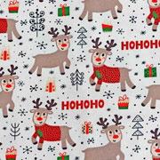 Jerseystoff Rentiere rote Nase Weihnachtsgeschenke, cremeweiß
