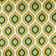 Dekostoff grafisches Muster Retromuster Leinen Optik, ockergelb dunkelgrün