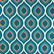 Dekostoff grafisches Muster Retromuster Leinen Optik, terracotta petrol natur
