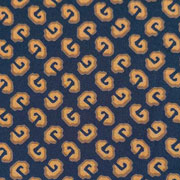 Viskose Jerseystoff grafisches Muster, ockergelb dunkelblau