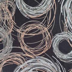 Viskose Jerseystoff Kringel Kreise, hellbraun weiß schwarz