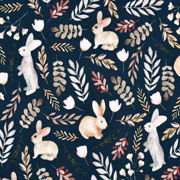 Jerseystoff Hasen Zweige, beige taupe dunkelblau