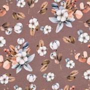 Jerseystoff Blumen Blätter Knospen, aprikot rauchblau hellbraun