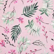 Jerseystoff tropische Blätter Digitaldruck, dunkelgrün mint rosa