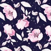 Jerseystoff Blumen Digitaldruck, rosa dunkelblau