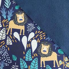 Softshell Stoff Jackenstoff Löwen Blätter, dunkelblau