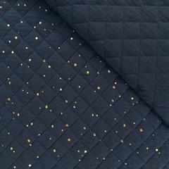 Steppstoff Musselin goldene Punkte wattiert, dunkelblau