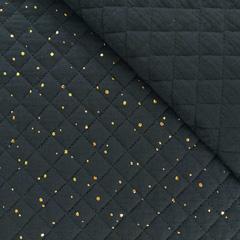 Steppstoff Musselin goldene Punkte wattiert, schwarz