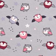 Jerseystoff Eulen Sterne, bordeaux mattes pink grau