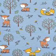 Jerseystoff Füchse Rehe Bäume, ockergelb rauchblau