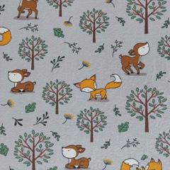 Jerseystoff Füchse Rehe Bäume, hellgrau