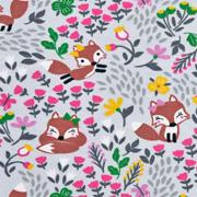 Jerseystoff Füchse Blumen, grau