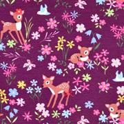 Jerseystoff Rehe Blumen, pink blau lila