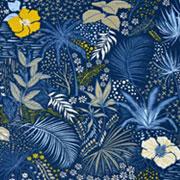 Jerseystoff tropische Blumen Blätter, gelb beige dunkles jeansblau