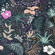 Jerseystoff tropische Blumen Blätter, beere mint nachtblau