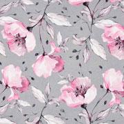 Jerseystoff Blumen Digitaldruck, rosa hellgrau