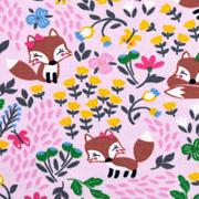 Jerseystoff Füchse Blumen, rosa